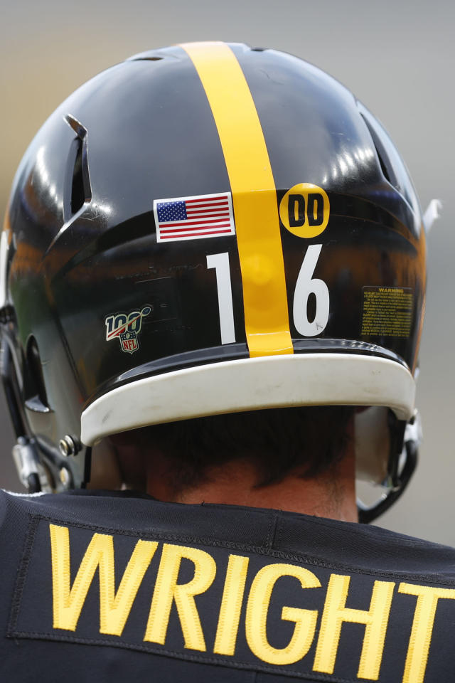 "Pittsburgh Steelers kicker Matthew Wright wears a ""DD"" sticker on the back of his helmet before a preseason NFL football game against the Kansas City Chiefs, Saturday, Aug. 17, 2019, in Pittsburgh. The team will wear the stickers to honor receivers coach Darryl Drake who died last week. (AP Photo/Don Wright)"