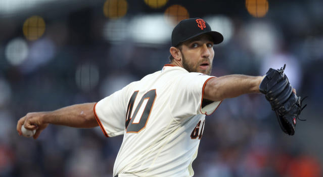 San Francisco Giants pitcher Madison Bumgarner works against the Arizona Diamondbacks during the first inning of a baseball game Tuesday, June 5, 2018, in San Francisco. This is Bumgarner's first start of the season after an injury during spring training. (AP Photo/Ben Margot)
