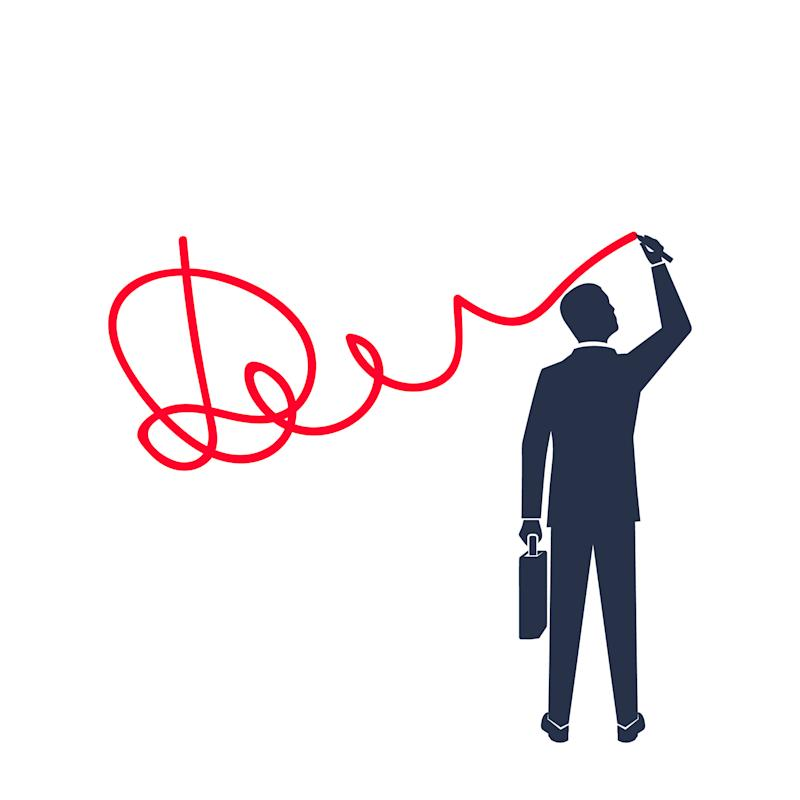 An illustration of a businessman signing his name.
