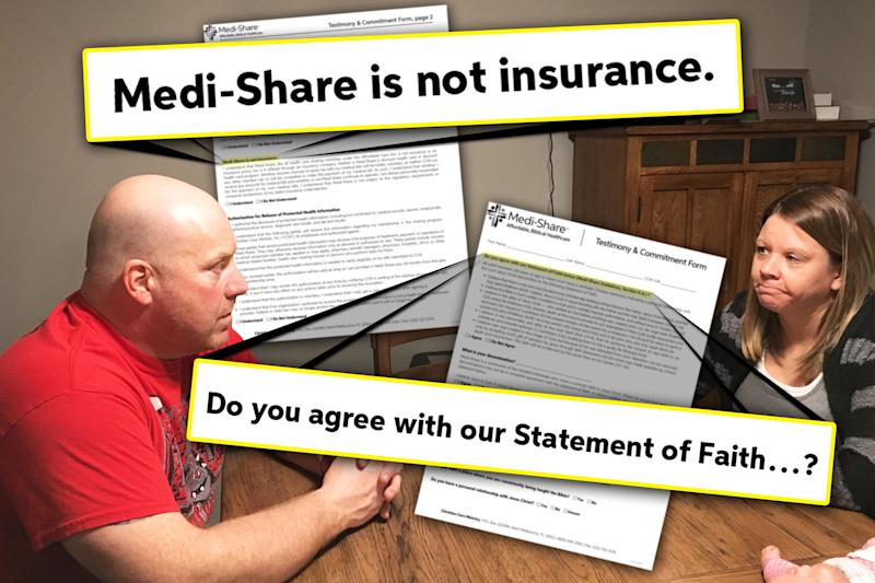 Tracy and Danielle Lammers signed up for Medi-Share, a Christian sharing ministry that promotes itself as a cheaper alternative to Obamacare,after a job loss.