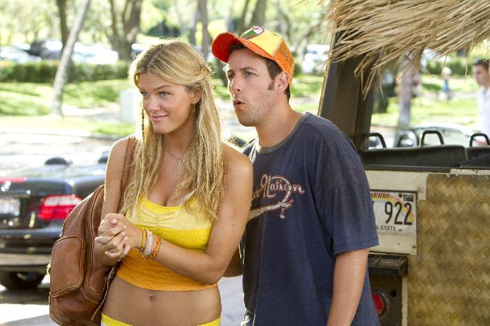 "In this film publicity image released by Columbia Pictures, Brooklyn Decker, left, and Adam Sandler are shown in a scene from ""Just Go with It."" Sandler shattered the record for most nominations ever at the Razzies, an Academy Awards spoof that singling out the worst movies of the year. His 11 nominations Saturday included worst actor for both ""Jack and Jill"" and ""Just Go with It."" (AP Photo/Columbia Pictures-Sony, Tracy Bennett)"