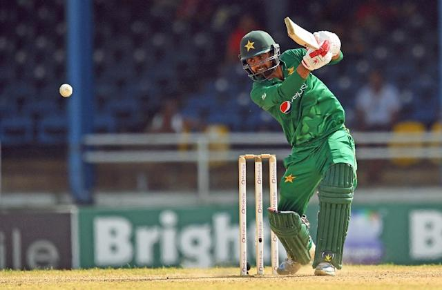 Pakistan's Ahmed Shehzad plays a shot at the Queen's Park Oval in Port of Spain, Trinidad, on April 2, 2017 (AFP Photo/Jewel SAMAD)