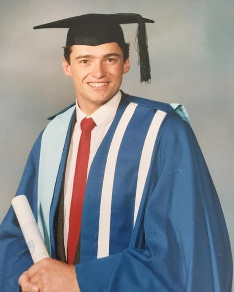 """<p>Hugh Jackman, wearing his own cap and gown back in Australia: """"Congrats To The Graduating Class Of 2016! #throwbackthursdays"""" -<a href=""""https://www.instagram.com/p/BF3mydrChHf/"""" rel=""""nofollow noopener"""" target=""""_blank"""" data-ylk=""""slk:@thehughjackman"""" class=""""link rapid-noclick-resp"""">@thehughjackman</a> (Instagram)<br></p>"""