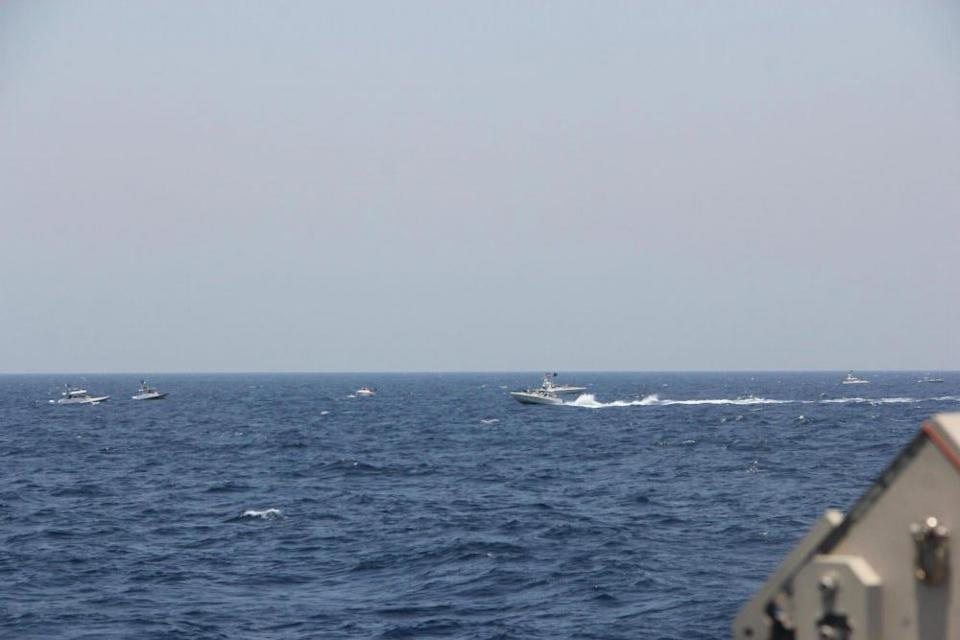 Two Iranian Islamic Revolutionary Guard Corps Navy (IRGCN) fast in-shore attack craft (FIAC), a type of speedboat armed with machine guns, conducted unsafe and unprofessional maneuvers while operating in close proximity to U.S. naval vessels transiting the Strait of Hormuz, May 10