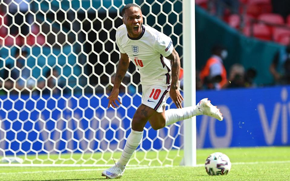 Raheem Sterling of England celebrates after scoring their side's first goal during the UEFA Euro 2020 Championship Group D match between England and Croatia at Wembley Stadium on June 13, 2021 in London, England - Shaun Botterill - UEFA
