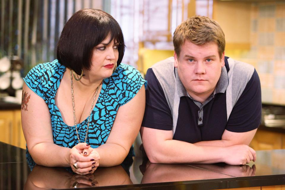 Ruth Jones and James Corden in the BBC sitcom 'Gavin & Stacey'. (Credit: BBC)