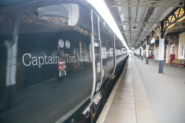 A Great Western Railway train, recently named 'Captain Tom Moore', terminates at Worcester Shrub Hill station in Worcester, Worcestershire, after its first day in service. The GWR Intercity Express Train, that is named in honour of the veteran who has raised more than £32 million for NHS Charities Together, has re-entered service on his 100th birthday.