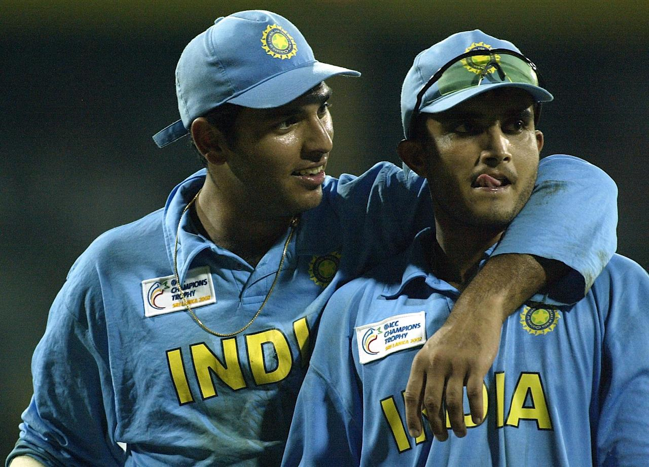 COLOMBO - SEPTEMBER 25:   Youvraj Singh and Saurav Ganguly of India celebrate after winning the ICC Champions Trophy semi final match between India and South Africa at the Premadasa Stadium in Colombo, Sri Lanka  on September 25, 2002. (Photo by Clive Mason/Getty Images.)