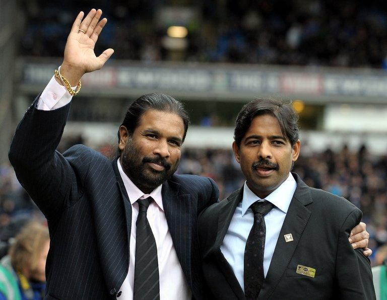 Rovers owners Balaji Rao (L) and Venkatesh Rao (R), Directors of Venky's, at Ewood Park, Blackburn, on November 21, 2010