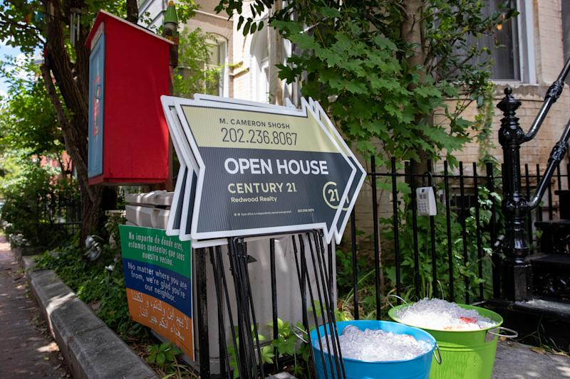 WASHINGTON, D.C. - JULY 12: Signs advertising an open house in the Shaw neighborhood of Washington, D.C. on Sunday, July 12, 2020. According to the realtor, the house at 933 Westminster St. NW is being listed for $2.35 million. (Photo by Amanda Andrade-Rhoades for The Washington Post via Getty Images)