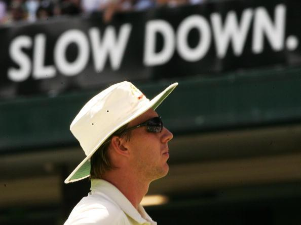 SYDNEY, AUSTRALIA - JANUARY 04: Brett Lee of Australia returns to his fielding position during day three of the fifth Ashes Test Match between Australia and England at the Sydney Cricket Ground on January 4, 2007 in Sydney, Australia. (Photo by Mark Kolbe/Getty Images)