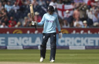 England's Joe Root celebrates scoring fifty runs during the first one day international cricket match between England and Sri Lanka, in Chester-le-Street, England, Tuesday, June 29, 2021. (AP Photo/Scott Heppell)