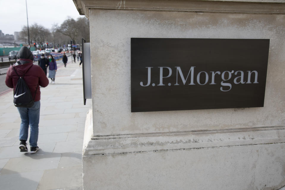 Sign for J.P. Morgan on 7th March 2020 in London, United Kingdom. JPMorgan Chase & Co. is an American multinational investment bank and financial services holding company headquartered in New York. JPMorgan Chase is ranked by S&P Global as the largest bank in the United States and the sixth largest bank in the world by total assets. (photo by Mike Kemp/In PIctures via Getty Images)