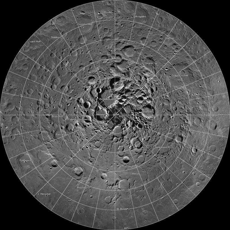 Undated NASA image shows high resolution mosaic of the moon's north polar region