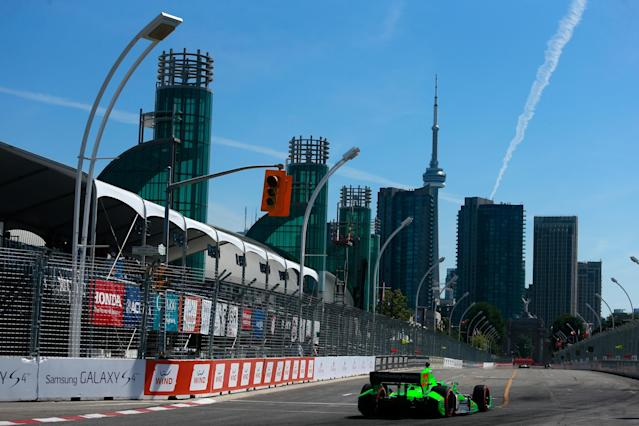 TORONTO, ON - JULY 13: James Hinchcliffe of Canada drives the #27 GoDaddy Chevrolet during qualifying for the IZOD INDYCAR Series Honda Indy Toronto Race #2 on July 13, 2013 in Toronto, Canada. (Photo by Chris Trotman/Getty Images)