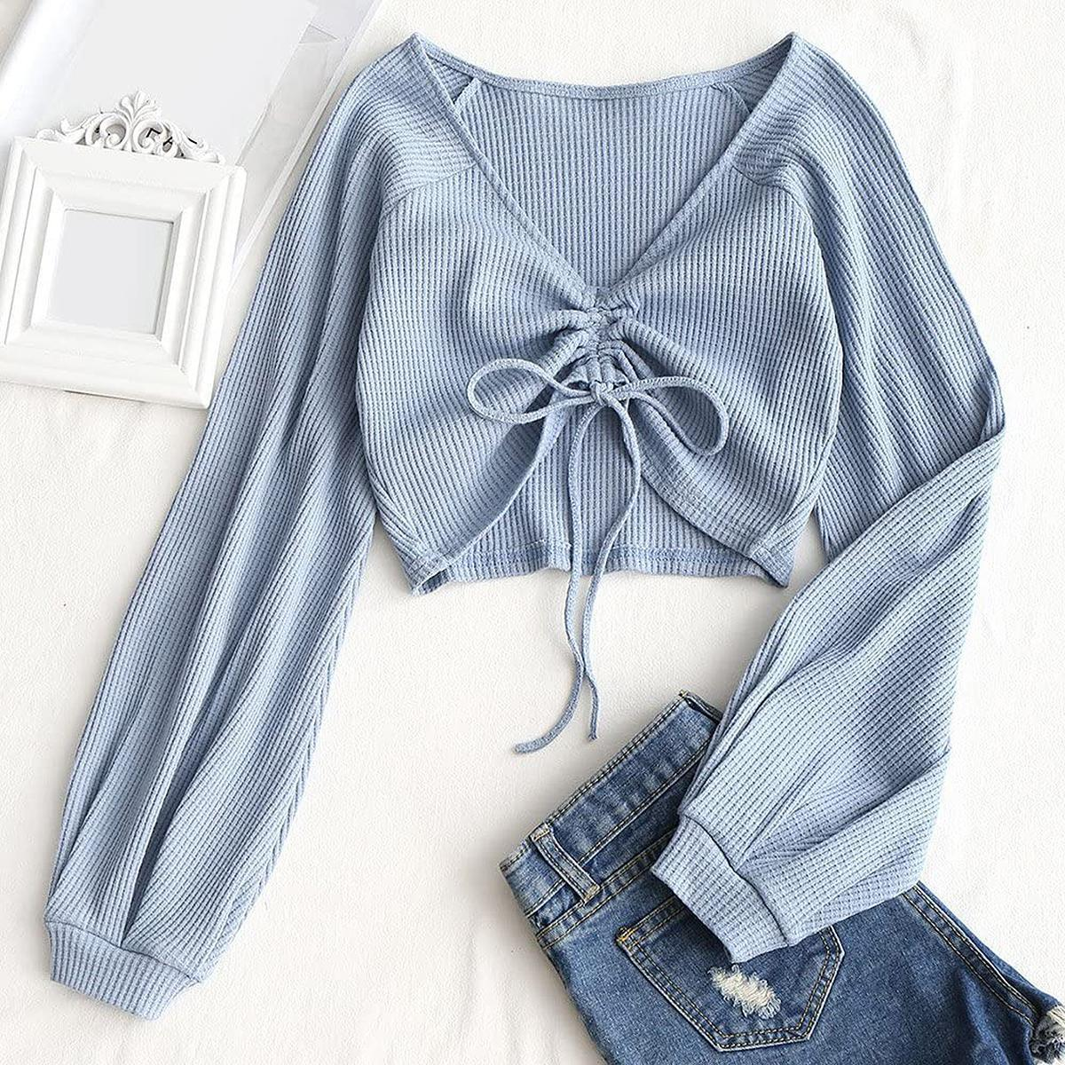 ZAFUL Long-Sleeve Knot Front Crop Top