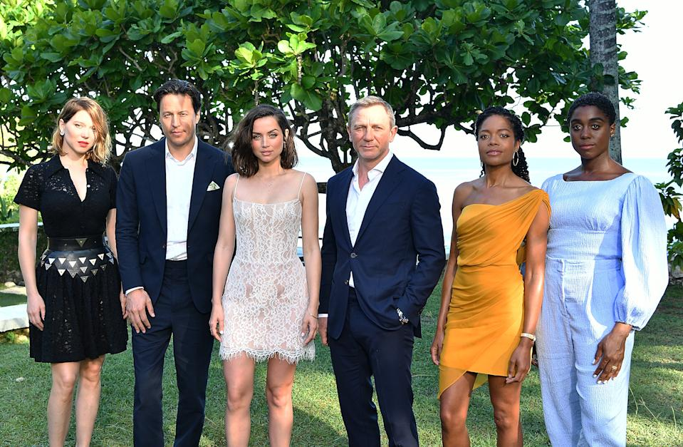 "MONTEGO BAY, JAMAICA - APRIL 25:  (L-R) Cast member Lea Seydoux, director Cary Joji Fukunaga, cast members Ana de Armas, Daniel Craig, Naomie Harris and Lashana Lynch attend the ""Bond 25"" film launch at Ian Fleming's Home 'GoldenEye' on April 25, 2019 in Montego Bay, Jamaica.  (Photo by Slaven Vlasic/Getty Images for Metro Goldwyn Mayer Pictures)"