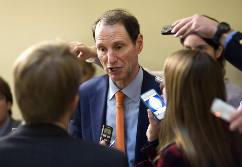 U.S. Senator Wyden speaks to the media on Capitol Hill in Washington