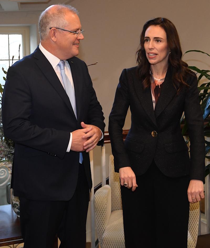 MELBOURNE, AUSTRALIA - JULY 19: Prime Minister of Australia Scott Morrison (left) and Prime Minister of New Zealand Jacinda Ardern are seen at at 4 Treasury Place in Melbourne, Friday, July 19, 2019. (Photo by Julian Smith-Pool/Getty Images)