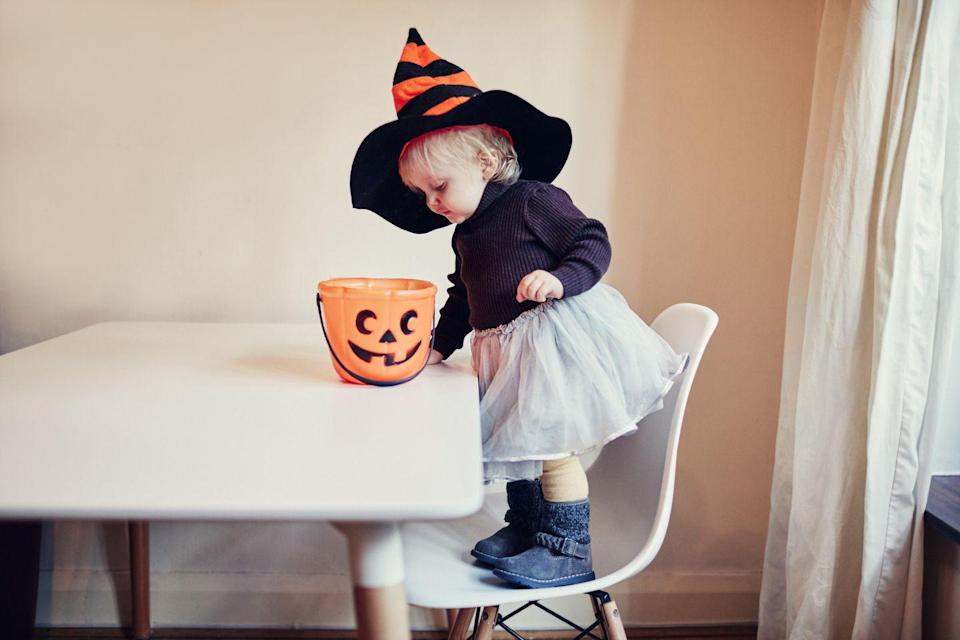 """<p>She may be young, but she probably already has everything needed for this easy costume in her closet.</p><p><strong><a href=""""https://www.countryliving.com/diy-crafts/a22366842/kids-witch-costume/"""" rel=""""nofollow noopener"""" target=""""_blank"""" data-ylk=""""slk:Get the tutorial"""" class=""""link rapid-noclick-resp"""">Get the tutorial</a>.</strong></p><p><a class=""""link rapid-noclick-resp"""" href=""""https://www.amazon.com/dp/B07DN9GW5S?tag=syn-yahoo-20&ascsubtag=%5Bartid%7C10050.g.4975%5Bsrc%7Cyahoo-us"""" rel=""""nofollow noopener"""" target=""""_blank"""" data-ylk=""""slk:SHOP SPARKLY TUTU"""">SHOP SPARKLY TUTU</a></p>"""