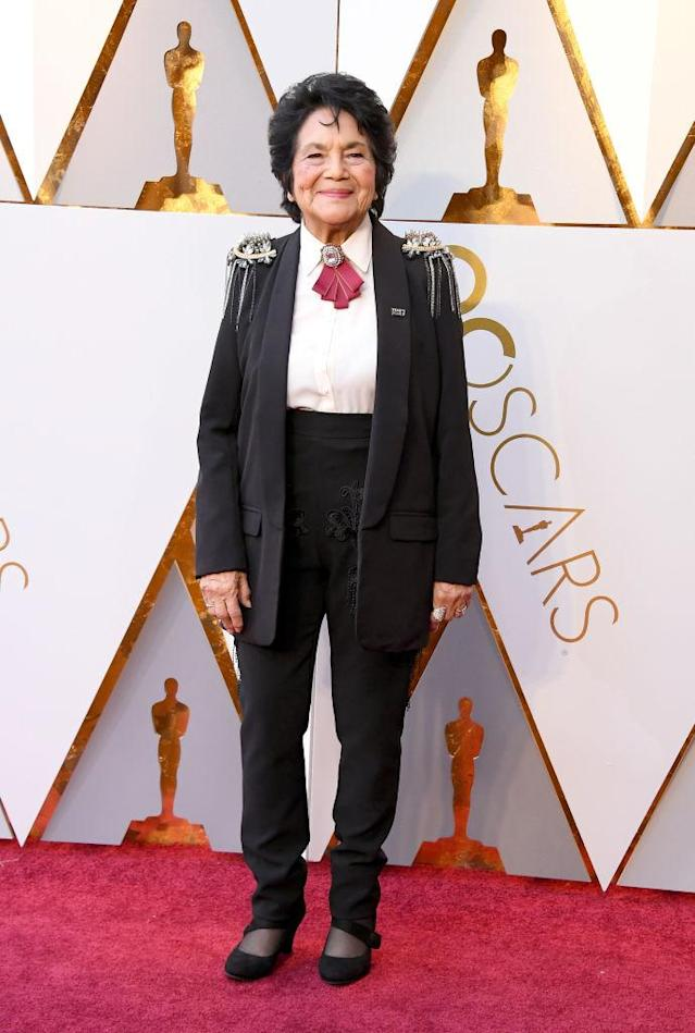 <p>Dolores Huerta attends the 90th Academy Awards in Hollywood, Calif., March 4, 2018. (Photo: Steve Granitz/WireImage) </p>