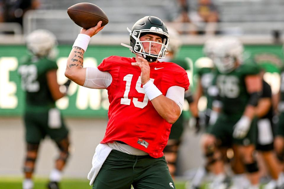 Michigan State's Anthony Russo throws a pass during the Meet the Spartans open practice on Monday, Aug. 23, 2021, at Spartan Stadium in East Lansing.