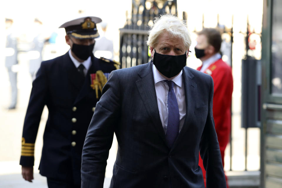 Britain's Prime Minister Boris Johnson arrives for a service to mark the 80th anniversary of the Battle of Britain at Westminster Abbey, London, Sunday, Sept. 20, 2020. (Aaron Chown/Pool Photo via AP)
