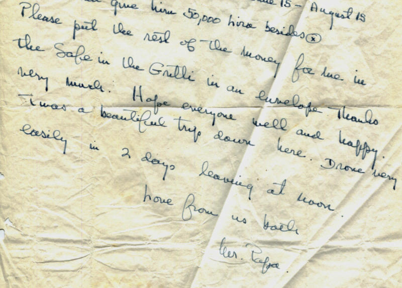 """This photo released by the John F. Kennedy Presidential Library and Museum in Boston on Wednesday, March 28, 2012, shows a portion of an Aug. 6, 1953, letter handwritten by Ernest Hemingway to his Italian friend Gianfranco Ivancich. He signed it, """"Love from us both, Mr. Papa."""" It is one of a dozen unpublished letters Hemingway wrote to Ivancich that the museum made public on Wednesday. Experts say the letters demonstrate tenderness in Hemingway's character that wasn't necessarily part of his public persona. (AP Photo/John F. Kennedy Presidential Library and Museum)"""