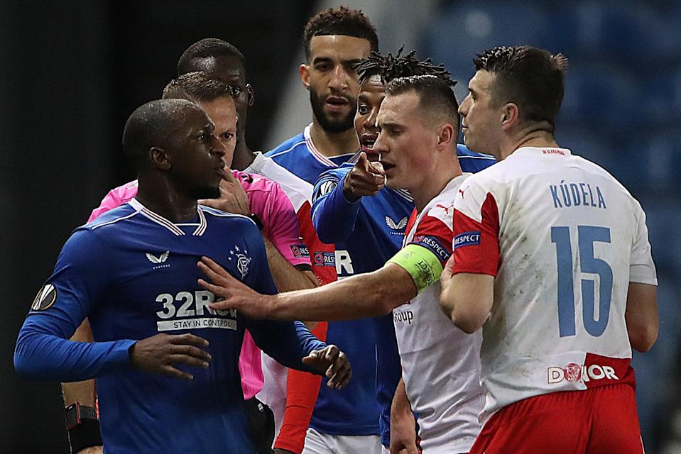 <p>Kudela (r) was banned for 10 games by Uefa</p> (Getty Images)