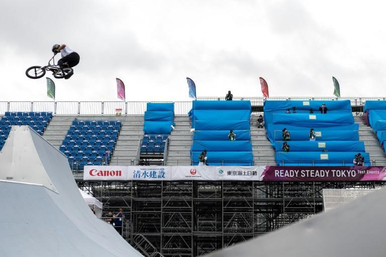 Hoping to fly: Daichi Teshigahara competes in a BMX freestyle test event in Tokyo in May