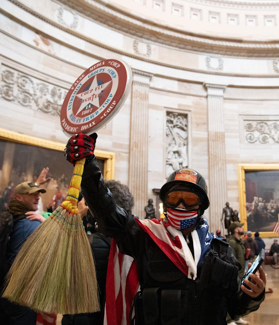 Supporters of US President Donald Trump protest in the US Capitol Rotunda on January 6, 2021, in Washington, DC. (Photo: SAUL LOEB/AFP via Getty Images)