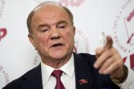 Russian Communist Party leader Gennady Zyuganov gestures while speaking at a news conference during the Parliamentary elections in Moscow, Russia, Sunday, Sept. 19, 2021. From the Baltic Sea to the Pacific Ocean, Russians across eleven time zones voted Sunday on the third and final day of a national election for a new parliament, a ballot in which the pro-Kremlin ruling party is largely expected to retain its majority after months of relentless crackdown on the opposition. (AP Photo/Pavel Golovkin)