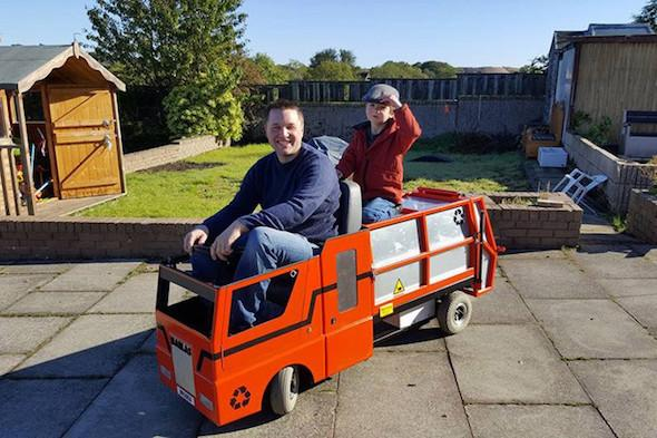 Mobility scooter to bin lorry