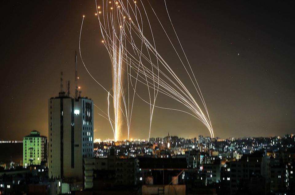 Rockets are launched from Gaza City on Tuesday night (AFP via Getty Images)