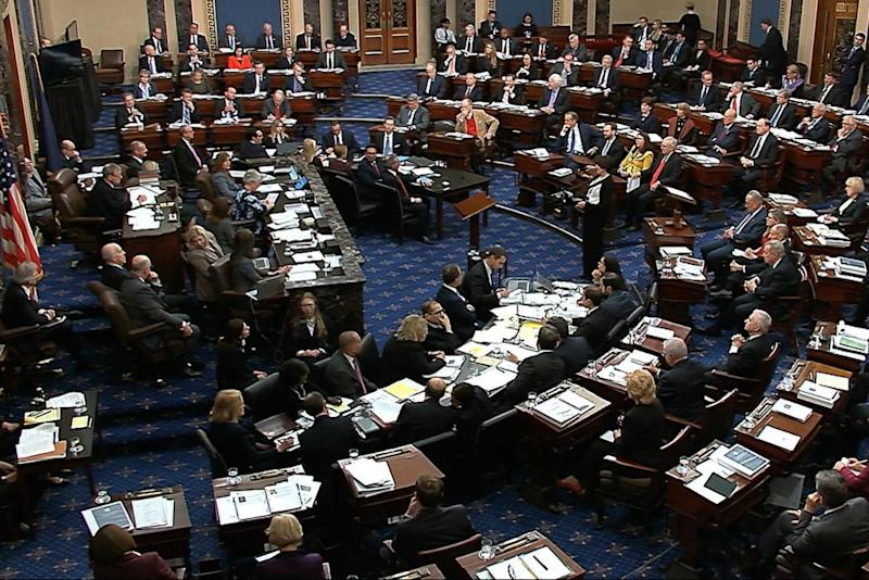 The Senate in session as the impeachment trial of Donald Trump begins on Tuesday (AP)