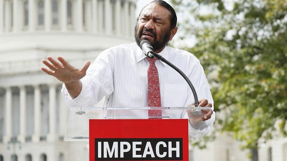 "Rep. Al Green (D-TX) speaks at the ""Impeachment Now!"" rally in support of an immediate inquiry towards articles of impeachment against U.S. President Donald Trump on the grounds of the U.S. Capital on September 26, 2019 in Washington, DC. (Photo by Paul Morigi/Getty Images for MoveOn Political Action)"