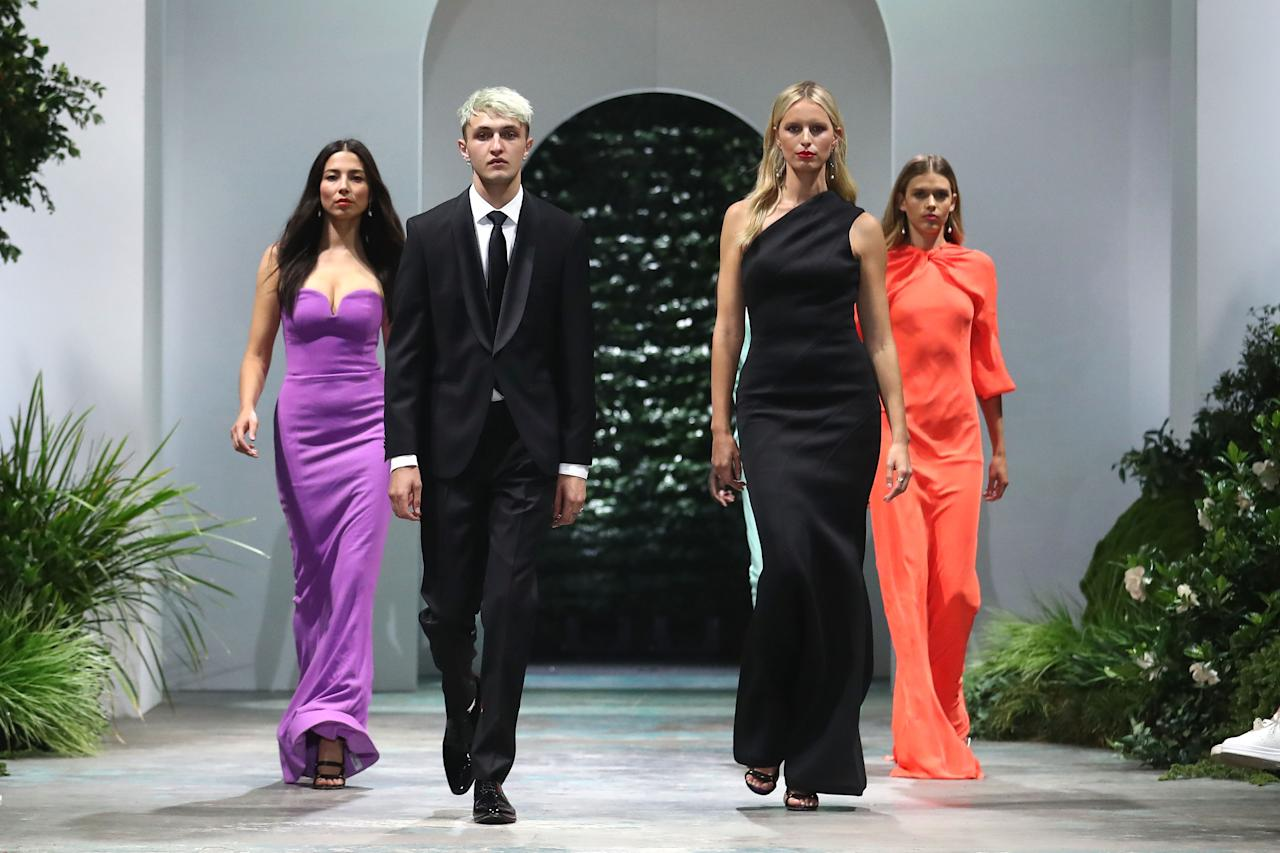 <p>Jessica Gomes, Anwar Hadid,Karolína Kurková and Victora Lee were the stars of the David Jones spring/summer 2018 collection launch. Photo: Getty Images </p>