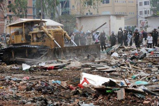 The UN is concerned for 117 families living in unsanitary conditions after their homes were bulldozed in January 2012
