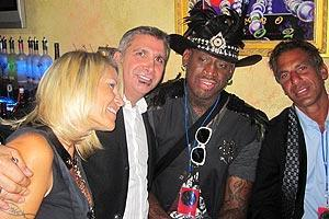 Rodman's many supporters at his post-induction party included his wife Michelle, friend Thaer Mustafa and former Detroit Red Wings defenseman Chris Chelios