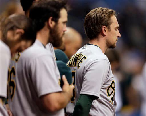Oakland Athletics' Jed Lowrie observes a moment of silence for the victims of the Boston Marathon bombings before a baseball game against the Tampa Bay Rays, Friday, April 19, 2013, in St. Petersburg, Fla. (AP Photo/Chris O'Meara)
