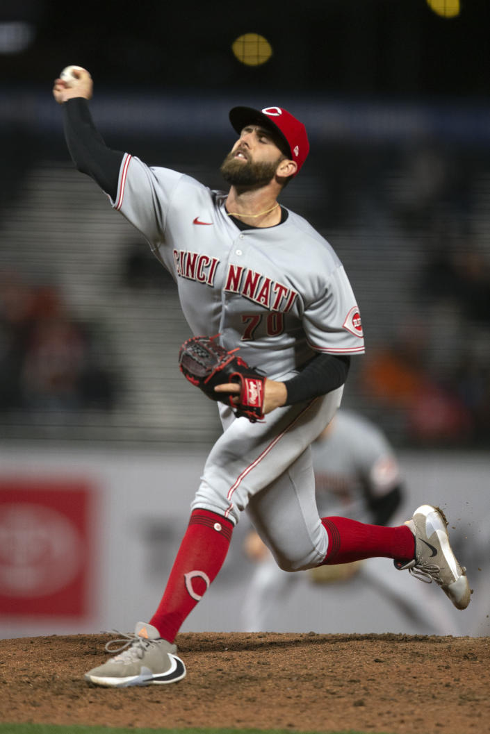Cincinnati Reds pitcher Tejay Antone delivers against the San Francisco Giants during the sixth inning of a baseball game, Monday, April 12, 2021, in San Francisco, Calif. (AP Photo/D. Ross Cameron)