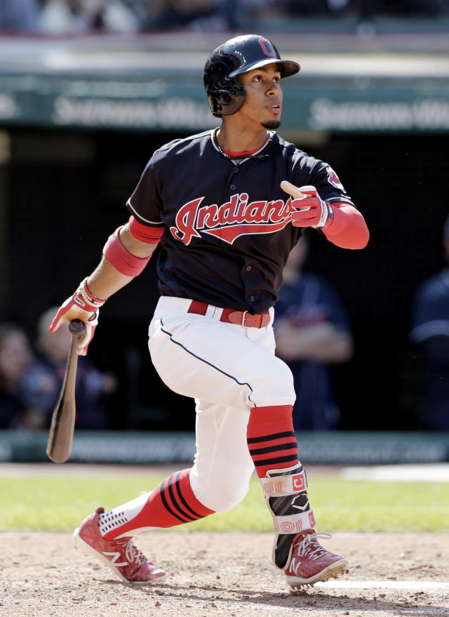 Cleveland Indians' Francisco Lindor watches his ball after hitting a solo home run off Baltimore Orioles relief pitcher Darren O'Day in the seventh inning of a baseball game, Saturday, Sept. 9, 2017, in Cleveland. (AP Photo/Tony Dejak)