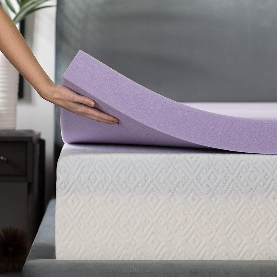 """<h2>Lucid Lavender Infused Memory Foam Mattress Topper</h2><br>R29 readers' hack for more affordably upgrading their sleep space? Buying a topper that's top-rated and 33% off during Amazon PD. This memory-foam style by Lucid is infused with a lavender-scent that reviewers describe as """"a sleeper's dream! It does not have the typical memory foam texture. It's super soft but with enough firmness to keep shape. The lavender infuses your whole house.""""<br><br><strong>4.5 out of 5 stars and 6,716 reviews</strong><br><br><strong>Lucid</strong> 3 Inch Lavender Infused Memory Foam Mattress Topper, $, available at <a href=""""https://amzn.to/2IyJcAl"""" rel=""""nofollow noopener"""" target=""""_blank"""" data-ylk=""""slk:Amazon"""" class=""""link rapid-noclick-resp"""">Amazon</a>"""