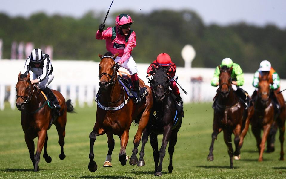 Cieren Fallon celebrates on board Oxted after winning the King's Stand Stakes - Getty Images Europe