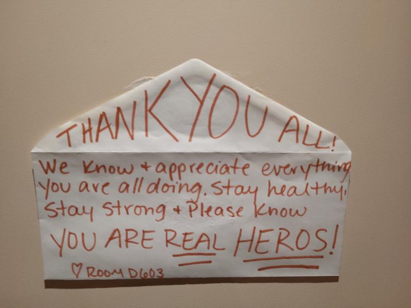A thank you note to crew is stuck to the door of a cabin aboard the quarantined Diamond Princess cruise ship | Sent to TIME via Gie, a <em>Diamond Princess</em> crew member
