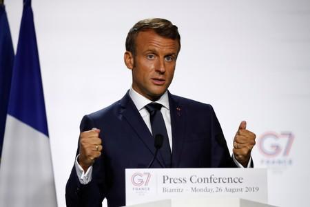 French President Emmanuel Macron attends a press conference during the G7 summit in Biarritz