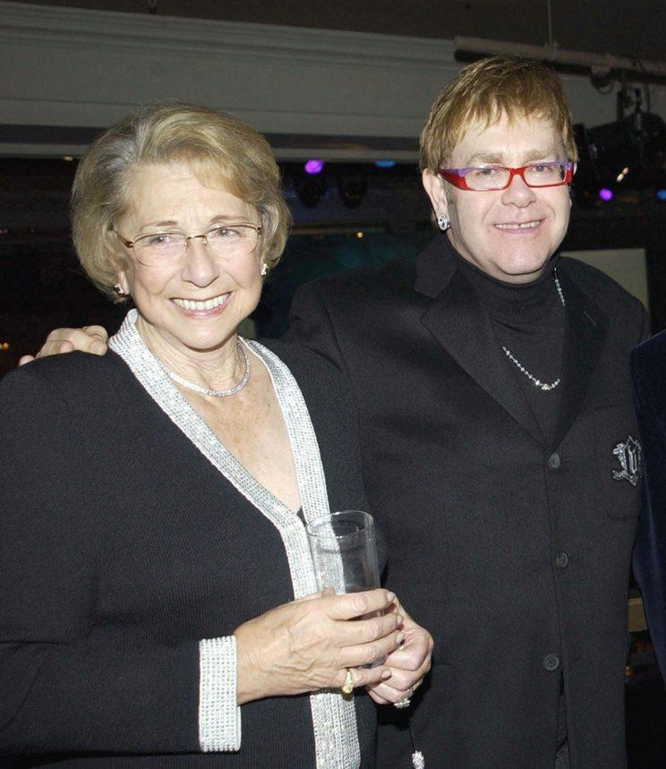 Elton John and his mom, Sheila Farebrother, back in happier days in 2002 before their rough patch.