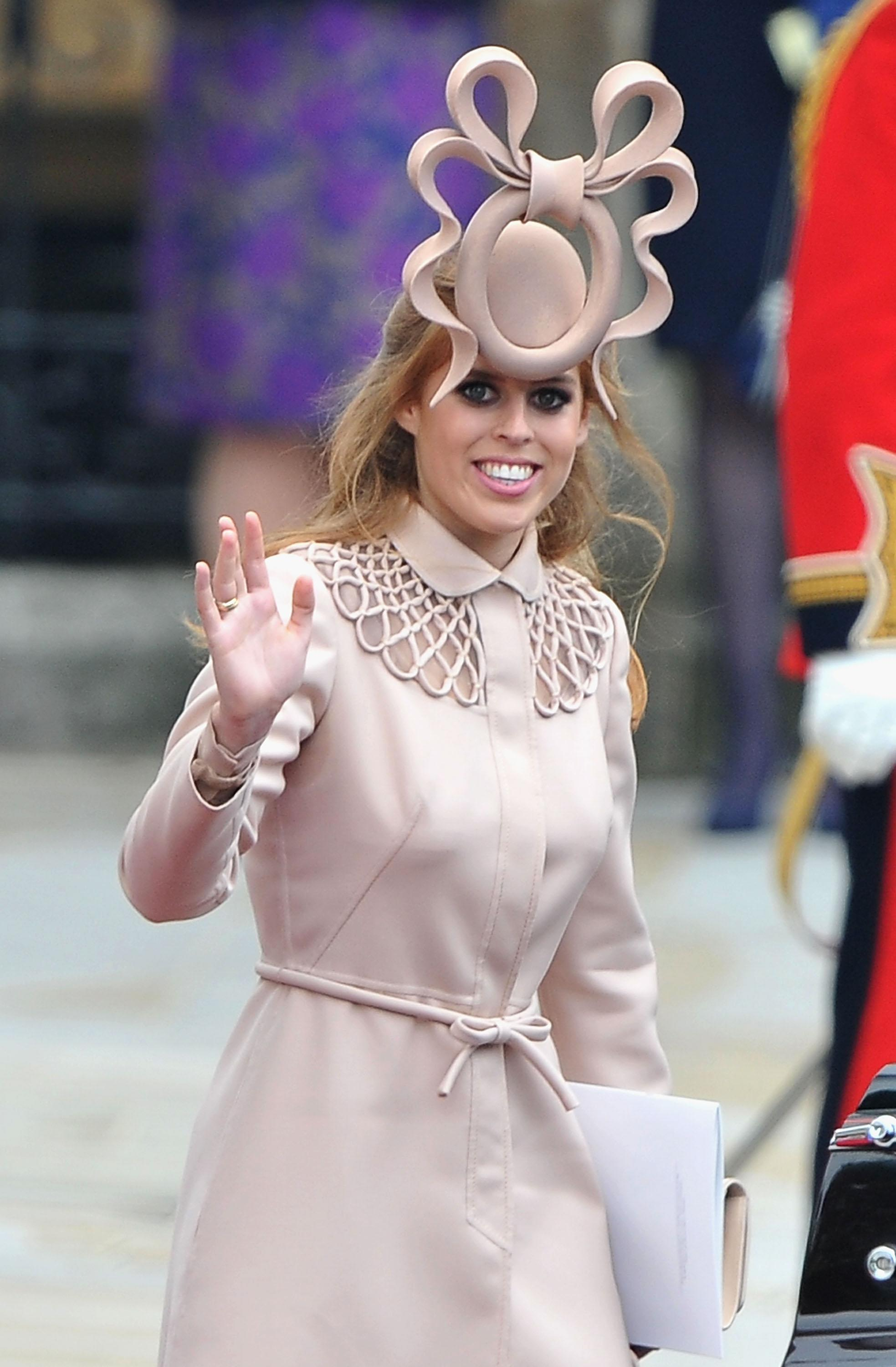 Princess Beatrice's Philip Treacy hat sold for over £80,000 at auction. [Photo: Getty]