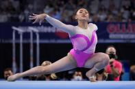 Sunisa Lee competes on the floor exercise during the U.S. Gymnastics Championships, Friday, June 4, 2021, in Fort Worth, Texas. (AP Photo/Tony Gutierrez)