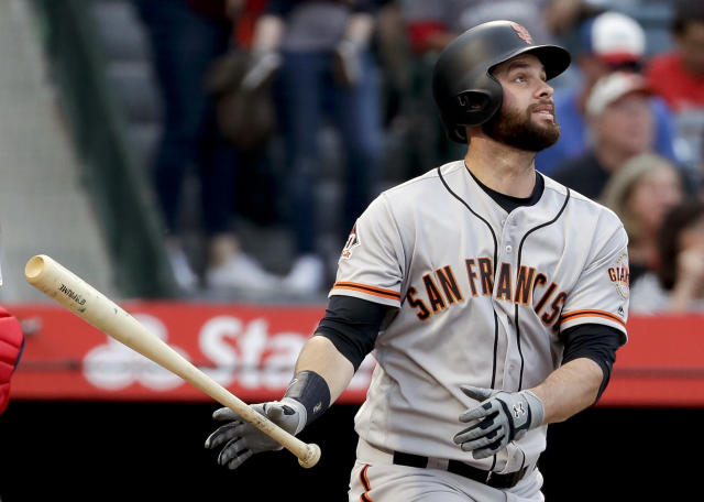 Brandon Belt set the record for longest MLB at-bat. (AP Photo/Chris Carlson)